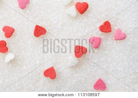 Scattered Sweet hearts Valentine's card