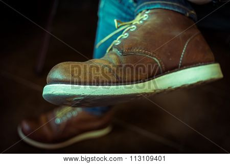 Old Brown Boot Leather Shoes, Close-up Image