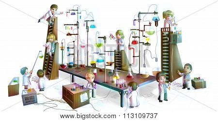 Cartoon Illustration Of Children Scientists Studying Chemistry, Working And Experimenting