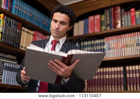 Portrait of a businessman reading a book