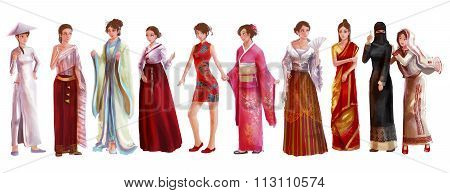 High Detail Watercolor Style Cartoon Illustraton Of Asian Female Woman Traditional, Religion, And Na