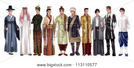 High Detail Cartoon Illustraton Of Asian Male Man Traditional, Religion, And National Costume Dress