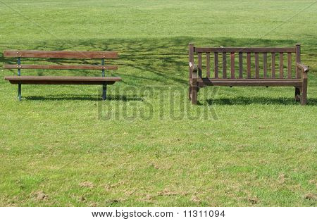 Two benches on the lawn
