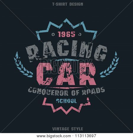 Racing Car Badge With Texture