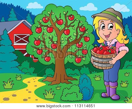 Farm girl with collected apples - eps10 vector illustration.