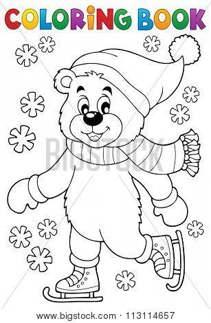 Coloring book ice skating bear - eps10 vector illustration.