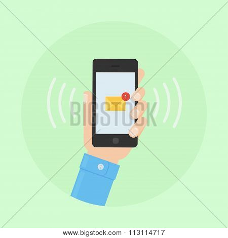 SMS message receiving vector flat illustration