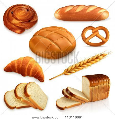Bread, vector icons set