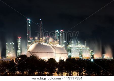 Landscape Of Sphere Tank Of Storage Gas And Liquid Chamical.