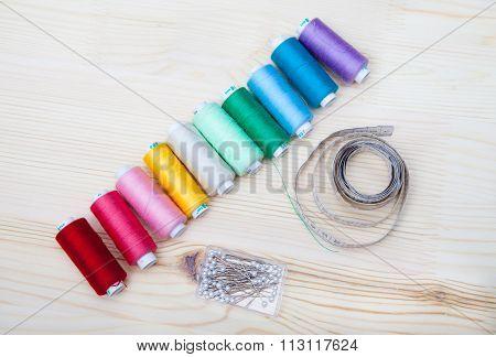 Spools Of Thread, Pins, Centimeter