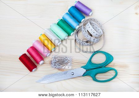 Spools Of Thread, Pins, Centimeter, Scissors
