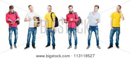 Group of happy male students being modern with gadgets.