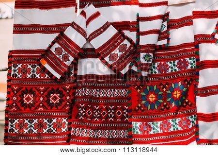 Slavic Traditional Pattern Ornament Embroidery. Culture of Belar