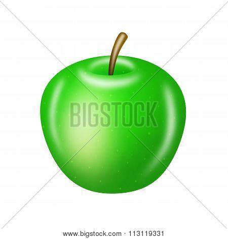Green Apple On White