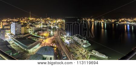 Panoramic beauty of Ha Tien town at night