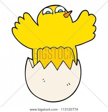 freehand drawn cartoon hatching egg