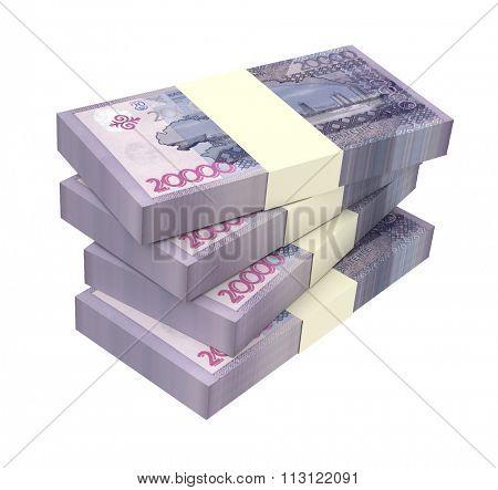 Kazakhstan tenge bills isolated on white background Computer generated 3D photo rendering.