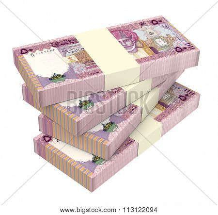 Omani rials bills isolated on white background. Computer generated 3D photo rendering.