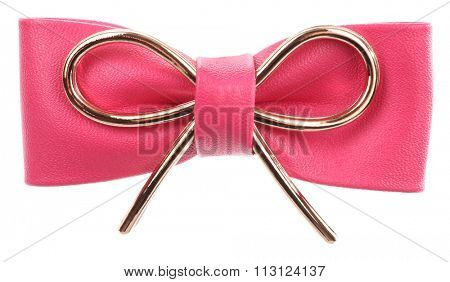 Leather pink hair bow with metal ornament
