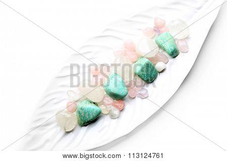 Semiprecious stones on a dish