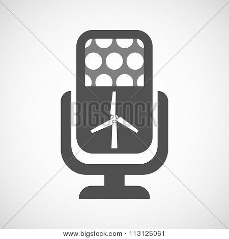 Isolated Microphone Icon With A Wind Generator