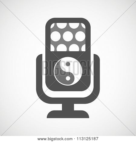 Isolated Microphone Icon With A Ying Yang