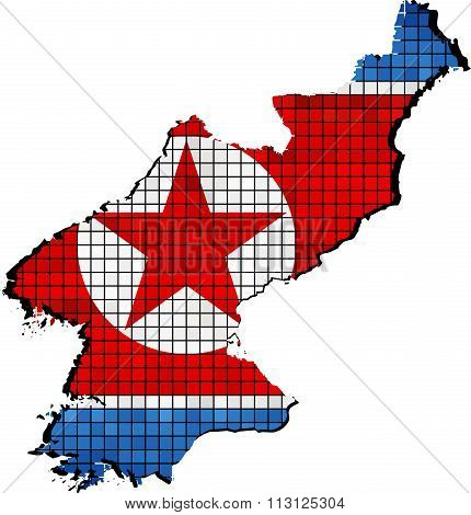 North Korea Map With Flag Inside.eps