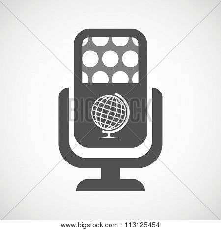 Isolated Microphone Icon With  A Table World Globe