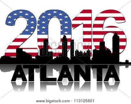 Atlanta skyline 2016 flag text illustration