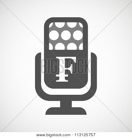 Isolated Microphone Icon With A Swiss Franc Sign