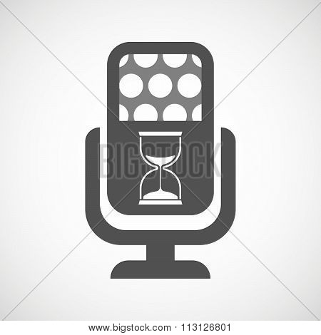 Isolated Microphone Icon With A Sand Clock