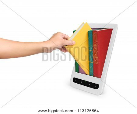 A Female Hand Picks A Book From E-book On An Isolated White Background. The Concept