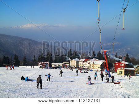 Ski resort in the Carpathians, Romania, Europe