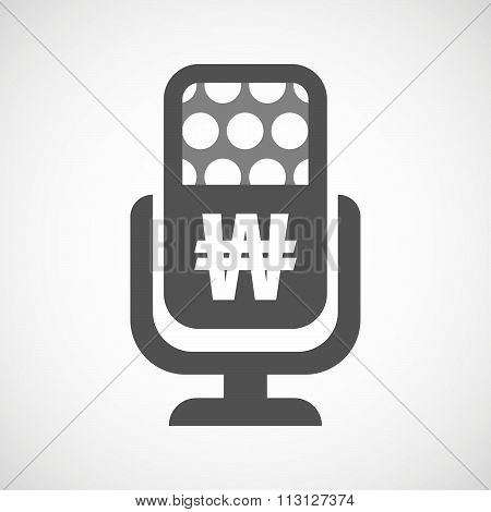Isolated Microphone Icon With A Won Currency Sign