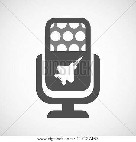 Isolated Microphone Icon With A Combat Plane