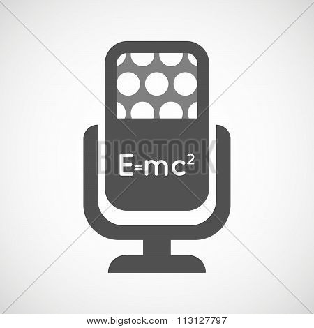 Isolated Microphone Icon With The Theory Of Relativity Formula