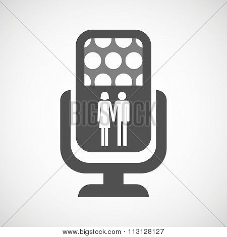 Isolated Microphone Icon With A Heterosexual Couple Pictogram