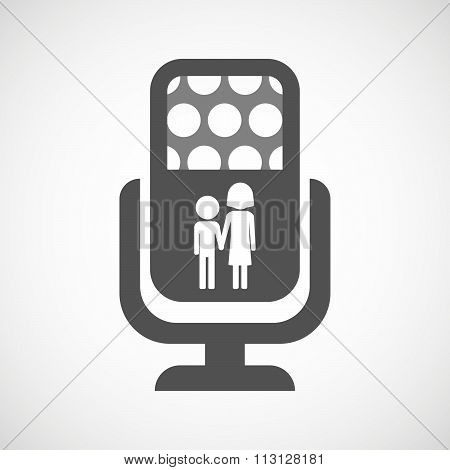 Isolated Microphone Icon With A Childhood Pictogram