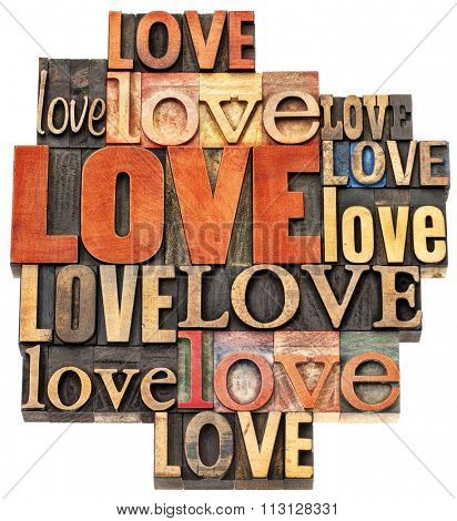 love word abstract - an isolated  collage of  text in vintage letterpress wood type printing blocks, a variety of fonts stained by color inks