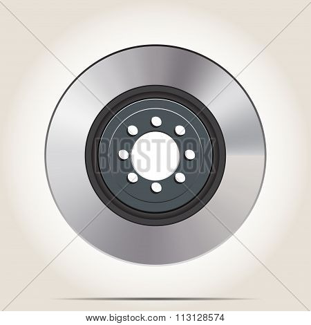 Car Brake Disc With Shadow On Gray Background