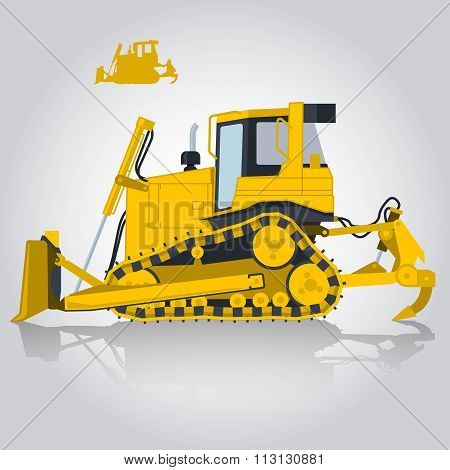 Yellow big digger builds roads