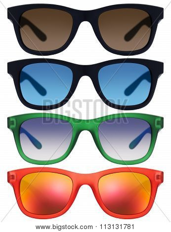 glasses Isolated On White Background In Various Colors
