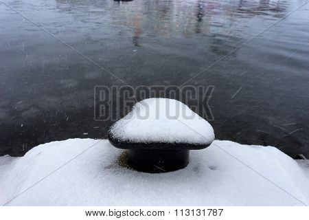 First Snow On The Pier In The Seaport