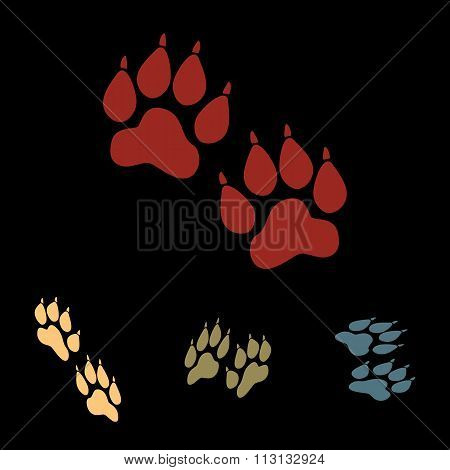 Animal tracks icon set