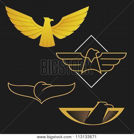 The set of eagles logo icon design.