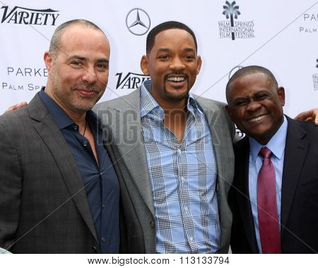 PALM SPRINGS - JAN 3:  Peter Landesman, Will Smith, Dr. Bennet Omalu at the Variety Creative Impact Awards And 10 Directors To Watch Brunch at the Parker Hotel on January 3, 2016 in Palm Springs, CA
