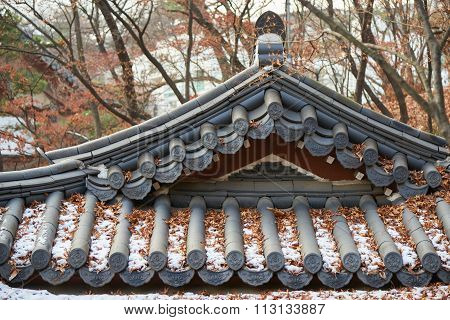 Closeup Of Tiled Roof Of Korean Architecture