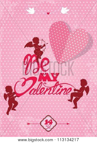 Happy Valentines Day Card With Cute Angels And Heart On Polka Dots Pink Background. Handwritten Call