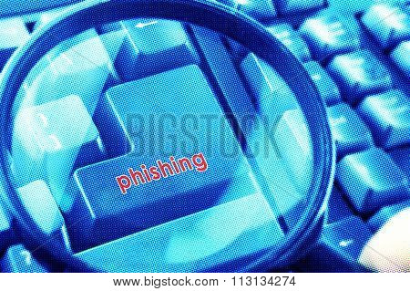 Magnifying Glass On Keyboard With Phishing Word On Button. Color Halftone Effect Applied.