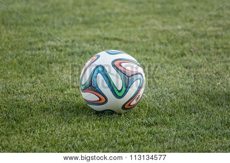 Varna, Bulgaria - May 30, 2015: Close-up Official Fifa 2014 World Cup Ball (brazuca) On The Grass. A